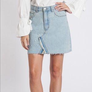 NWT Velvet Heart Pearl Distressed Denim Skirt A-Line Frayed Hem Size 30